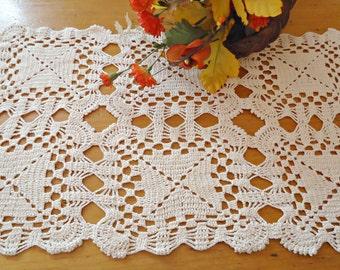 Crocheted Doily Large Ecru Crochet Doily Vintage Doilies Doilies Handmade  B230