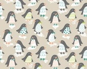 Snow Day by Maude Asbury for Blend in Penguin Parade Taupe