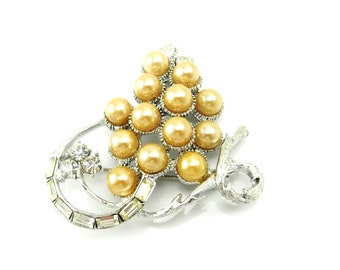Vintage Pearl Rhinestone Brooch - Silver Pins - Wedding Brooch - Bride - Wedding Jewelry - Vintage Jewelry - Champagne Pearls - Grapes