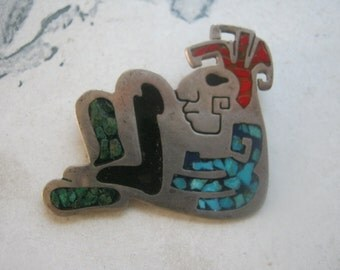 Taxco Sterling Silver Gemstone Inlay Mayan Warrior Brooch