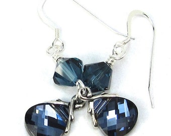Blue Earrings of Montana Swarovski Crystals and Briolettes