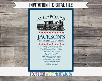 ON SALE! Vintage Train Birthday Invitation -- Printable, Digital File