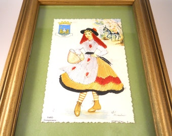 Portugal Red Haired Girl Crewel on Paper with Frame