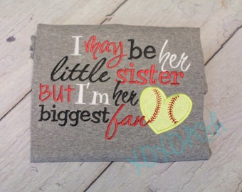 Softball Sister-I may be her little sister by I'm her biggest fan with Neon Yellow Glitter Softball Applique