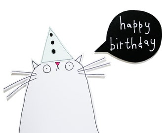 Cat Birthday Card, Funny Birthday Card for Cat Lover, White Cat Greeting Card, Happy Birthday Card, White Kitty Card, Poosac