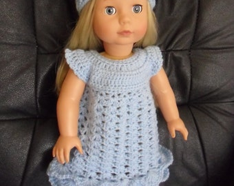 Hand crocheted dress and headband for 18 inch American Girl Gotz doll