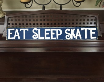 Eat Sleep Skate Wall Sign Plaque Art Wooden Skater Skateboard Decor Hand Painted Wooden You Pick Color