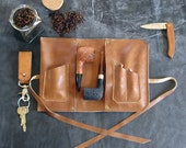 Leather Pipe Pouch -- The Original Standard - 1-2 pipes in Chestnut with Antique Brass rivets - Handmade in the USA