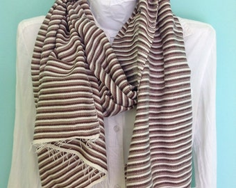 Cotton Scarf- Men Women Chocolate brown and Khaki cotton stripe scarf- Brown Khaki and white Classic Stripe Ethiopian Scarf
