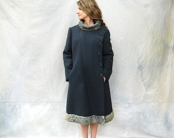 1960s charcoal gray wool coat - 60s Mod coat with persian lamb trim-medium/large