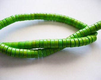 Magnesite Beads Green Heishi 8x4mm