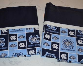 Unversity of North Carolina - Tar Heels -  Pillow Case - handmade - fits std/queen