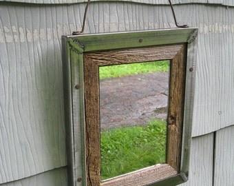 Small Industrial Rustic Barn Wood Metal Trim Mirror no.1519