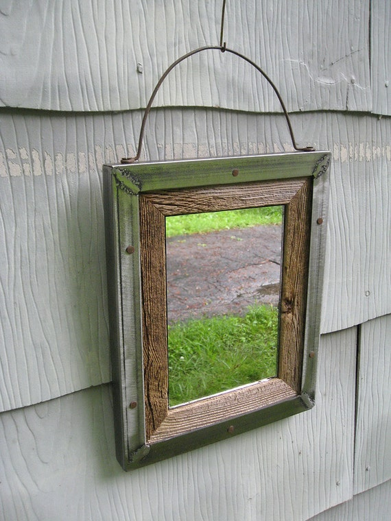 Small Industrial Rustic Barn Wood Metal Trim Mirror No 1519