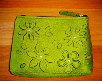 Green Felt Zippered Floral & Butterfly Clutch Bag
