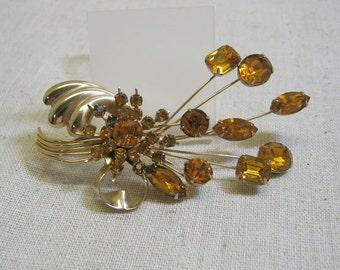 Huge Vintage Golden Rhinestone Flower Spray Brooch