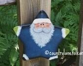 CIJ, Santa Ornament, hand painted, wood, Christmas ornament, folk art Santa, country Christmas,