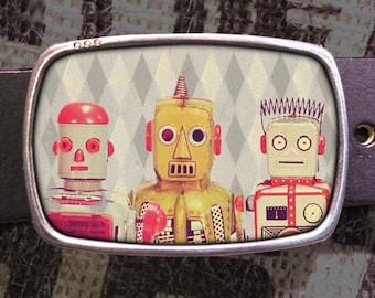 Robot Friends Belt Buckle, Vintage Inspired, Geekery 577