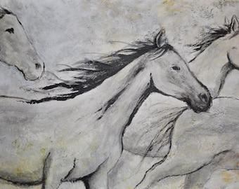 SALE! Contemporary Modern Horse painting white, gray black, western art, Modern western art