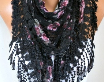 Black Tulle Velvet Floral Scarf Shawl Cowl Lace  Bohemian,Bridal Accessories Gift Ideas For Her Women Fashion Accessories Scarves