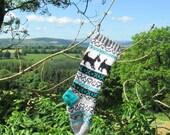 Dog Christmas Stocking Knitted Modern Xmas Holiday Stocking Fair Isle (Ready to Ship) LGR