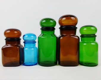 Vintage Glass Apothecary Storage Jars Made in Belgium in Green Blue or Brown