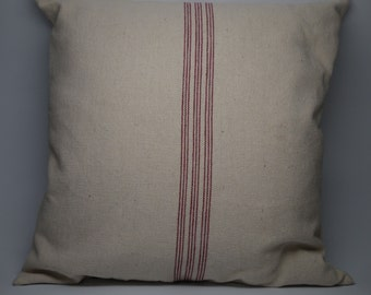 French Grain Sack Pillow, Red Stripe,  Farmhouse pillows, INSERT INCLUDED