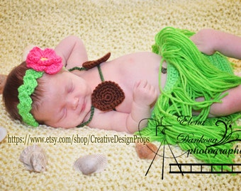 Crochet Hawaiian Hula Luau Outfit for Newborn Baby Girl, Flower Headband, Coconut Top, Skirt, Halloween, Beach  Photo Prop, Baby Shower Gift
