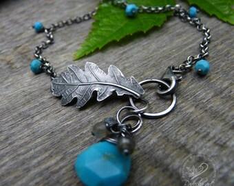 Oak Leaf Bracelet, Turquoise Bracelet, Woodland Bracelet, Nature Jewelry, Turquoise Jewelry, Woodland Wedding, Trendy Jewelry