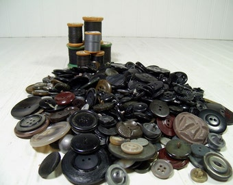 Vintage Variety of Antique Dark to Black Colors Buttons Collection - 468 Buttons for Repurposing Upscaling Upcycling Sewing Crafts Projects