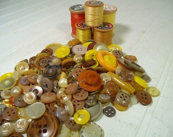 Vintage Variety of Yellow, Browns and Amber Buttons Collection - 215 Buttons for Repurposing Upscaling Upcycling Sewing and Craft Projects