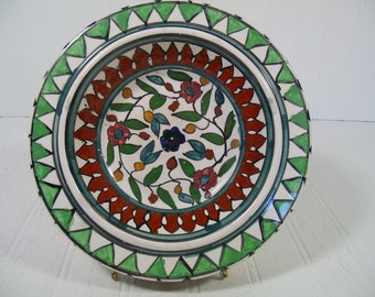 Oversized Hand Painted Multicolor Ceramic Coffee Table AshTray Large Decorator Bowl - Vintage Hand Crafted Arab Pottery Dish Made in Hebron