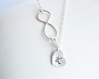 Sterling Silver Infinity Necklace with Personalized Initial