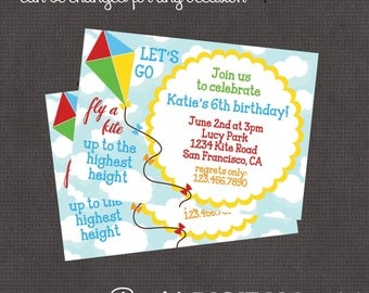 Let's go fly a kite Invitation 4x6 or 5x7 digital you print your own- Design 68
