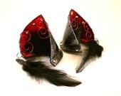 Shadow Cat Red Satin Black Leather Jeweled Cat Ears Nekomimi Cosplay Fantasy Goth LARP Pet Play Costume
