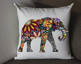 yellow Elephant pillow, Cotton Linen Elephant pillow cover, cartoon pillow covers 280