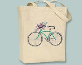 Vintage Bicycle with Flower Basket, Hand colored illustration, Canvas Tote  - Selection of  sizes available