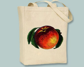 Gorgeous Vintage Peach illustration Canvas Tote -- Selection of sizes available