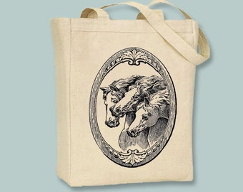 Gorgeous Vintage Framed Horses Natural or Black Canvas Tote -- ANY IMAGE COLOR selection of sizes available