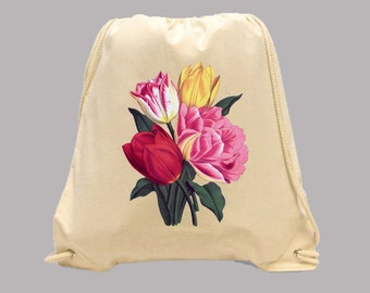 Beautiful Bright Vintage Tulips Illustration Simple Canvas BACKPACK