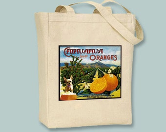 Vintage Chihuahua Oranges Fruit Crate Label Black or Neutral Canvas Tote  -- selection of sizes available