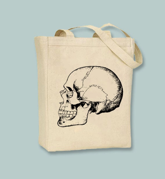 Skull Facing Left Vintage Illustration Natural or Black Canvas Tote - Selection of Sizes Available