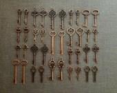 Keys to the Kingdom - Skeleton Keys - 36 x Vintage Keys Antique Copper Skeleton Key Skeleton Keys Set
