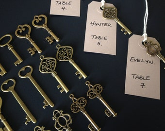 Keys of Wedlock Skeleton Key Wedding Favors 150 Antique Bronze Skeleton Keys & 150 Kraft Tags Large Skeleton Keys, Escort Card Key Charms