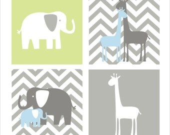 Giraffe and Elephant, Children's Wall Art, Nursery Wall Art- Set of four stretched canvas