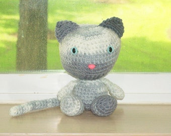 Playful Kitten - Gray Ombre Crochet Cat Doll (Finished Doll)