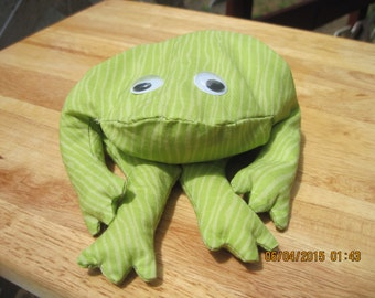 Theraputic (hot or cold) All RICE Filled Green & White Striped Frog,Home Decor,Table Top,Mantle...HAND MADE..ooak...Orginial Design