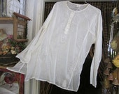 Embroidered and Sequined White Cotton Caftan Blouse / Tunic, Vintage - Large