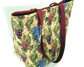 Grapes Tote Bag, Wine Cloth Purse, Handmade Handbag, Winery, Vineyard, Fabric Bag, Grapes, Wine Tote Bag, Shoulder Bag
