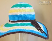 CROCHET PATTERN - Poolside - crochet sun hat pattern, summer hat pattern, wide brimmed hat in 3 sizes (Adult S, M, L) - Instant PDF Download